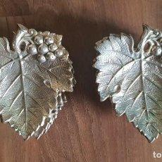 Antigüedades: 6 PANERAS DE ALPACA EN FORMA DE HOJAS DE VID / PARRA. Lote 203382291