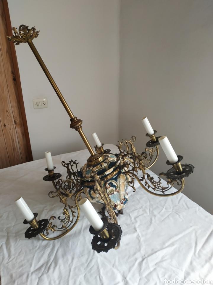 Antigüedades: Lampara de techo de bronce y porcelana - Foto 8 - 55377800