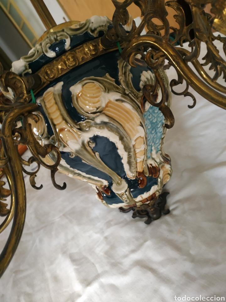 Antigüedades: Lampara de techo de bronce y porcelana - Foto 12 - 55377800