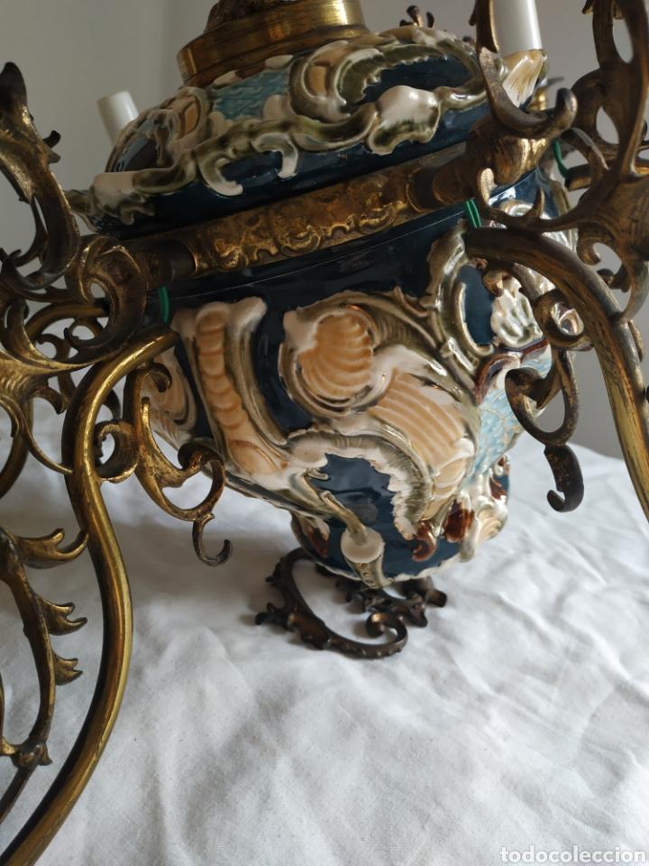 Antigüedades: Lampara de techo de bronce y porcelana - Foto 15 - 55377800