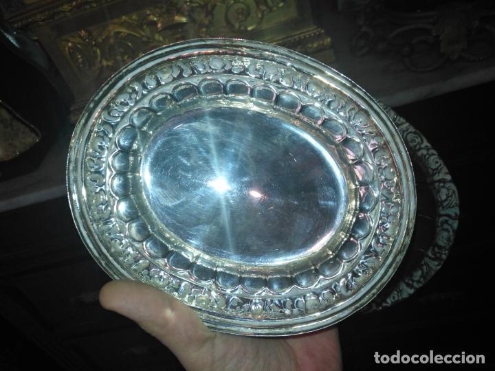 Antigüedades: METAL PLATEADO ANTIGUA JARDINERA ENSALADERA CENTRO DE MESA LABRADA IDEAL FLORES VIRGEN SEMANA SANTA - Foto 3 - 203506203