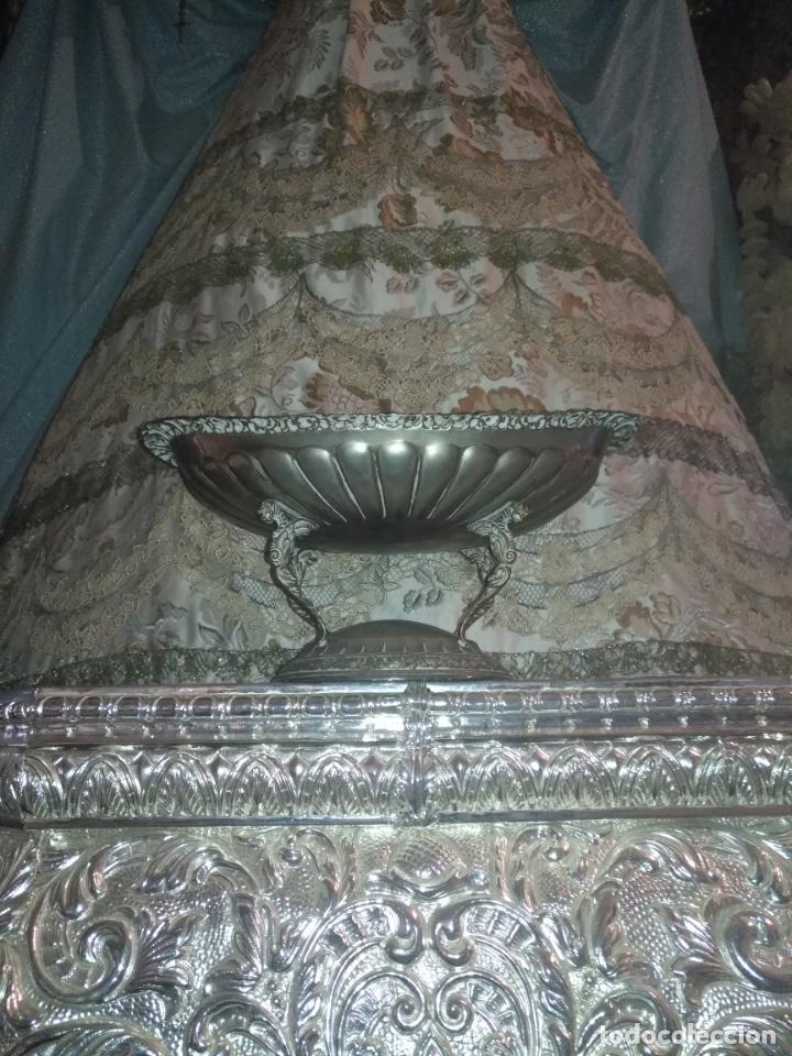 Antigüedades: METAL PLATEADO ANTIGUA JARDINERA ENSALADERA CENTRO DE MESA LABRADA IDEAL FLORES VIRGEN SEMANA SANTA - Foto 5 - 203506203