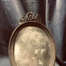 Antigüedades: MARCO OVALADO MINIATURA BRONCE PLATEADO FRANCIA S XIX NAPOLEON III LAZO CORONA LAUREL LAUREA 30,5X2C. Lote 203768081