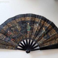 Antigüedades: ABANICO CHINO CON CARAS DE MARFIL. Lote 203786512