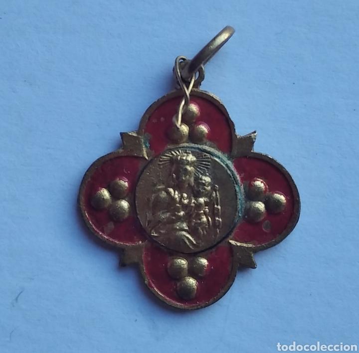 Antigüedades: Medalla religiosa antigua nuestra señora del Carmen 20 x 22 cm - Foto 2 - 203828303