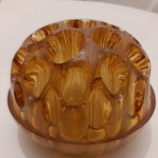 Antigüedades: ANTIGUO CENTRO PARA FLORES DE CRISTAL AMARILLO AÑOS 50 60 O PORTA PLUMAS MADE IN ENGLAND. Lote 203837828