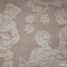 Antigüedades: PRECIOSA ANTIGUA CORTINA EN GANCHILLO 138 CM X 104 CM. Lote 203839262