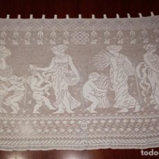 Antigüedades: ANTIGUA CORTINA CROCHET O GANCHILLO 144 CM X 94 CM. Lote 203839412