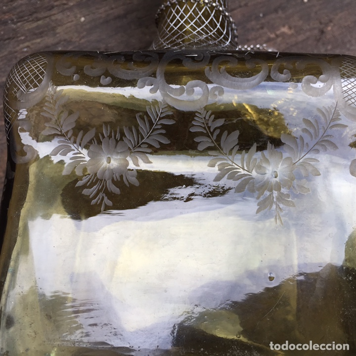 Antigüedades: Antiguo licorero (brandy)cristal y plata SXIX - Foto 5 - 203855638