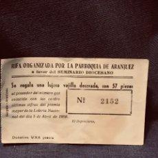 Antigüedades: RIFA ORGANIZADA PARROQUIA ARANJUEZ SEMINARIO DIOCESANO LUJOSA VAJILLA DECORADA 1950 N 2152. Lote 203857180