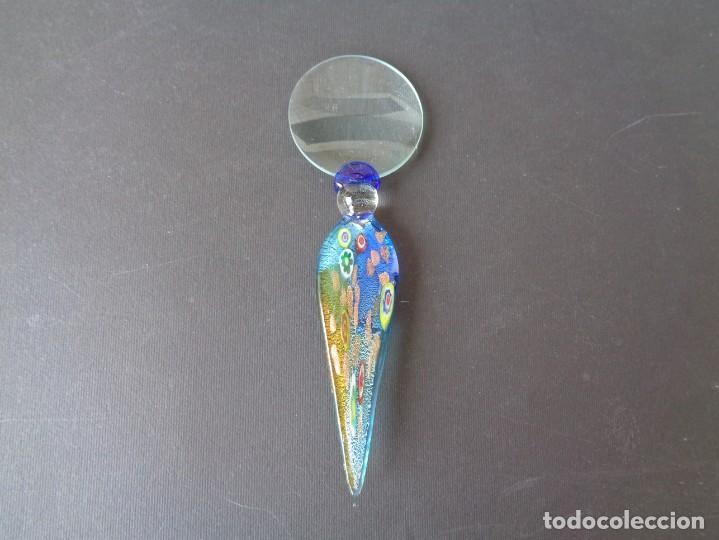 ORIGINAL LUPA CON MANGO DE CRISTAL DE MURANO (Antigüedades - Cristal y Vidrio - Murano)