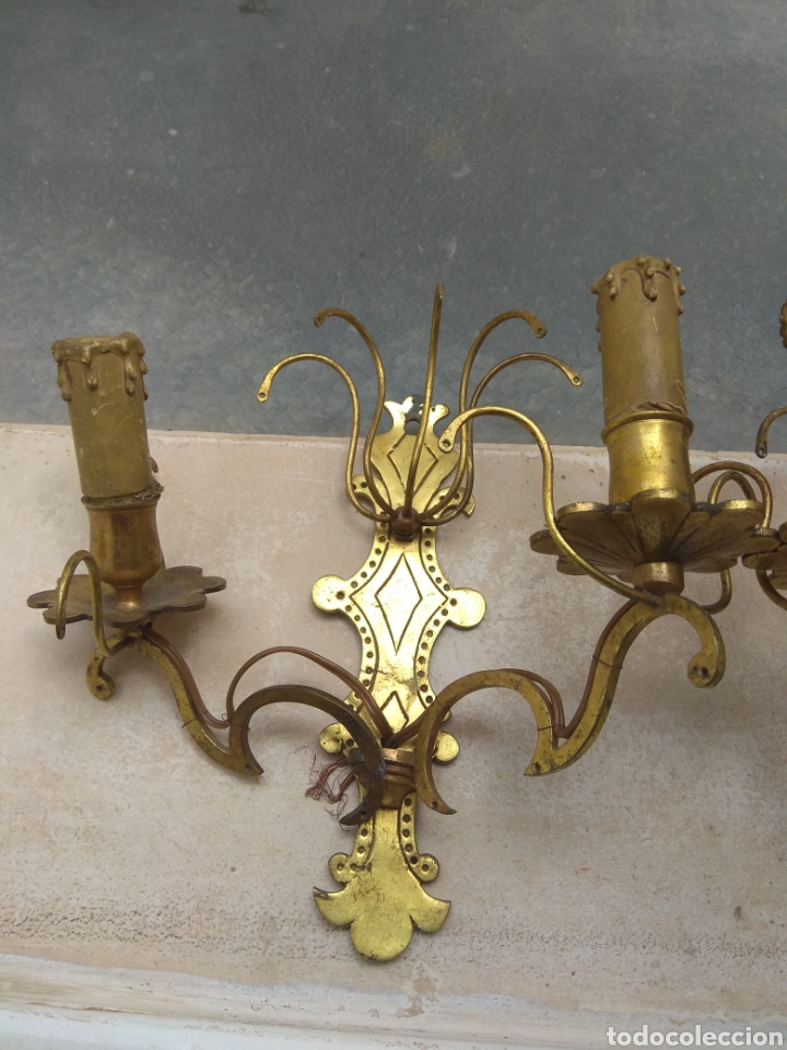 Antigüedades: Pareja de Lámparas - Apliques - Sin Cristales - Para Restaurar - Leer Descripción - - Foto 4 - 75169529