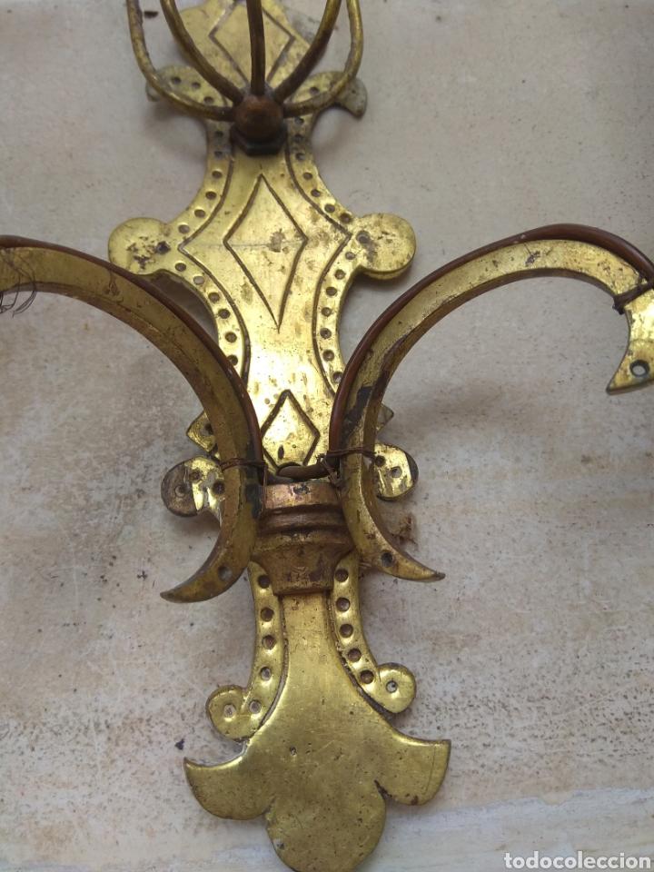 Antigüedades: Pareja de Lámparas - Apliques - Sin Cristales - Para Restaurar - Leer Descripción - - Foto 5 - 75169529
