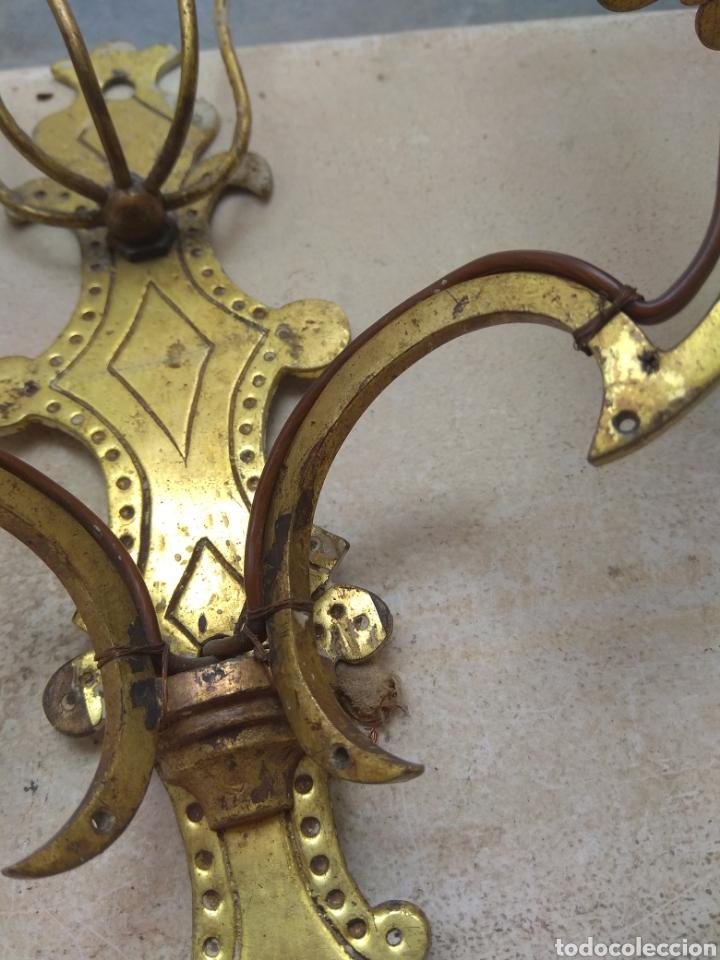 Antigüedades: Pareja de Lámparas - Apliques - Sin Cristales - Para Restaurar - Leer Descripción - - Foto 8 - 75169529