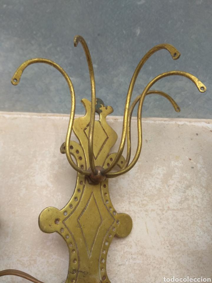 Antigüedades: Pareja de Lámparas - Apliques - Sin Cristales - Para Restaurar - Leer Descripción - - Foto 12 - 75169529