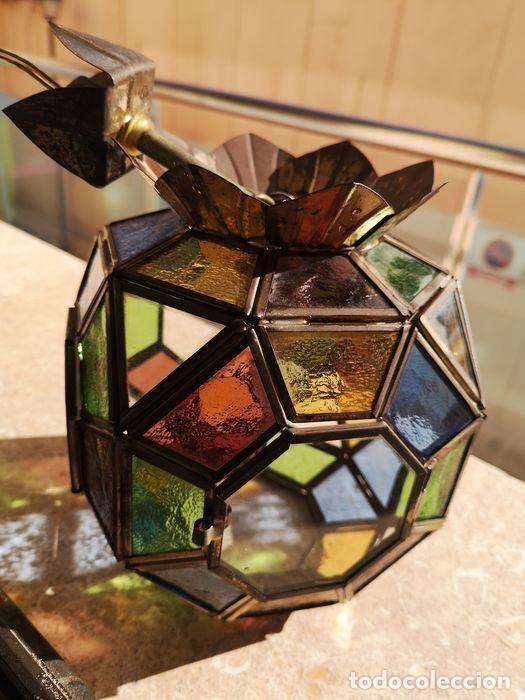 Antigüedades: Lámpara colgante, linterna de bronce con cristales de plomo de colores. - Foto 2 - 203957353
