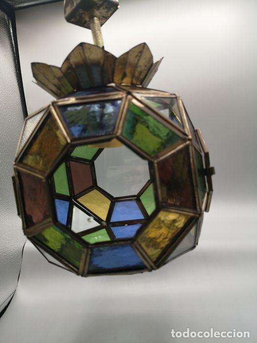 Antigüedades: Lámpara colgante, linterna de bronce con cristales de plomo de colores. - Foto 3 - 203957353