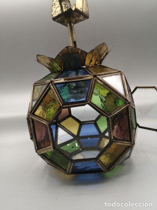 Antigüedades: Lámpara colgante, linterna de bronce con cristales de plomo de colores. - Foto 4 - 203957353