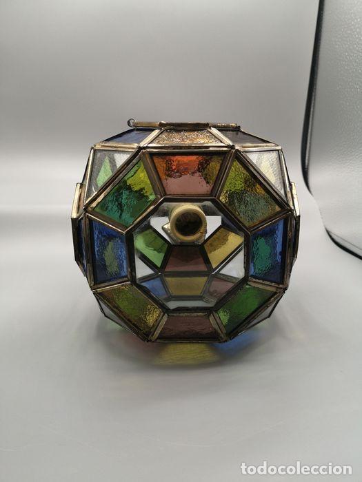 Antigüedades: Lámpara colgante, linterna de bronce con cristales de plomo de colores. - Foto 5 - 203957353