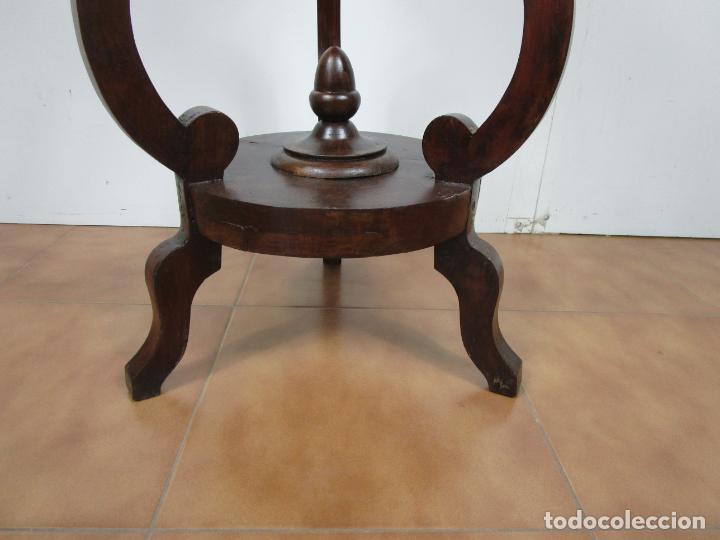 Antigüedades: Decorativo Mueble de Lavabo, Isabelino - Toallero en Madera de Caoba y Marquetería - S. XIX - Foto 4 - 231430090