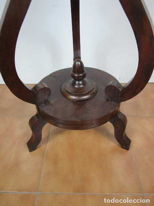 Antigüedades: Decorativo Mueble de Lavabo, Isabelino - Toallero en Madera de Caoba y Marquetería - S. XIX - Foto 5 - 231430090