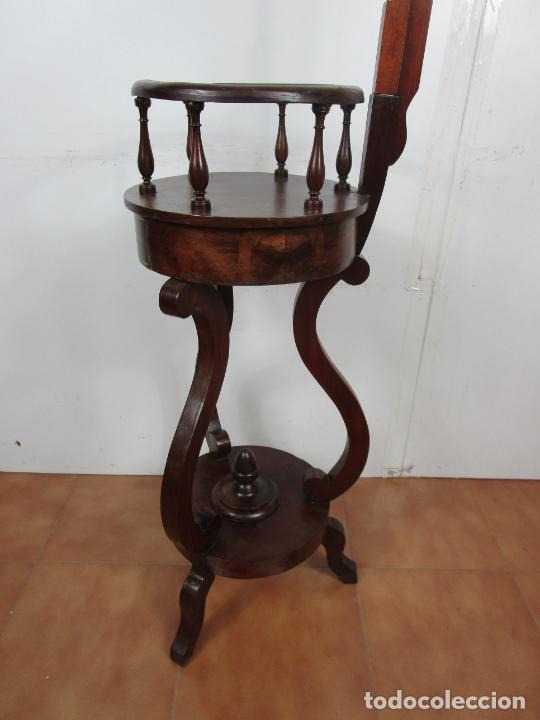 Antigüedades: Decorativo Mueble de Lavabo, Isabelino - Toallero en Madera de Caoba y Marquetería - S. XIX - Foto 15 - 231430090