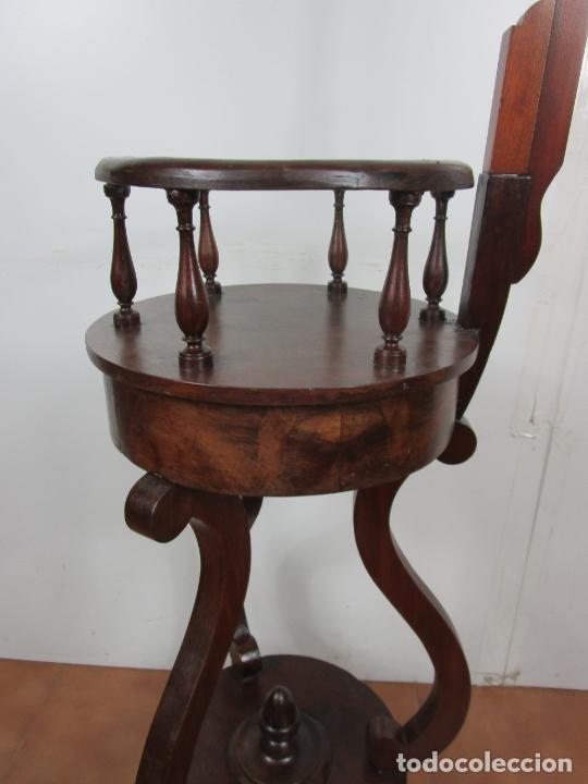Antigüedades: Decorativo Mueble de Lavabo, Isabelino - Toallero en Madera de Caoba y Marquetería - S. XIX - Foto 16 - 231430090