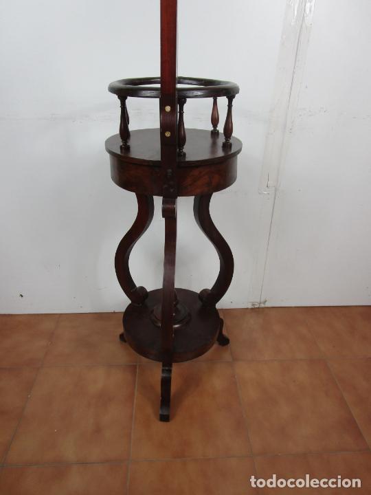 Antigüedades: Decorativo Mueble de Lavabo, Isabelino - Toallero en Madera de Caoba y Marquetería - S. XIX - Foto 21 - 231430090