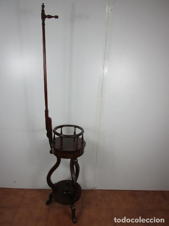 Antigüedades: Decorativo Mueble de Lavabo, Isabelino - Toallero en Madera de Caoba y Marquetería - S. XIX - Foto 22 - 231430090