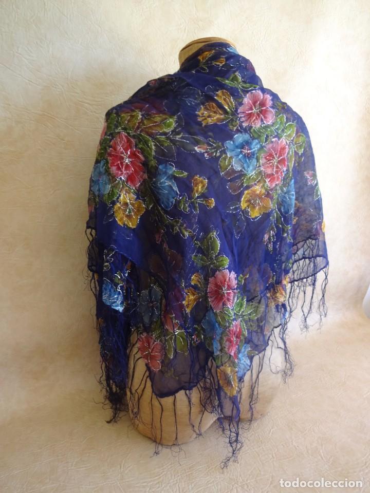 Antigüedades: antiguo manton con motivos florales - Foto 2 - 203992712