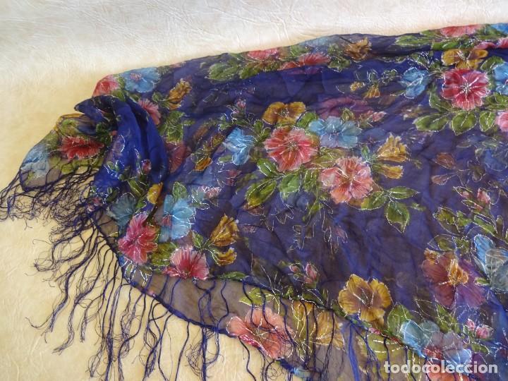 Antigüedades: antiguo manton con motivos florales - Foto 4 - 203992712