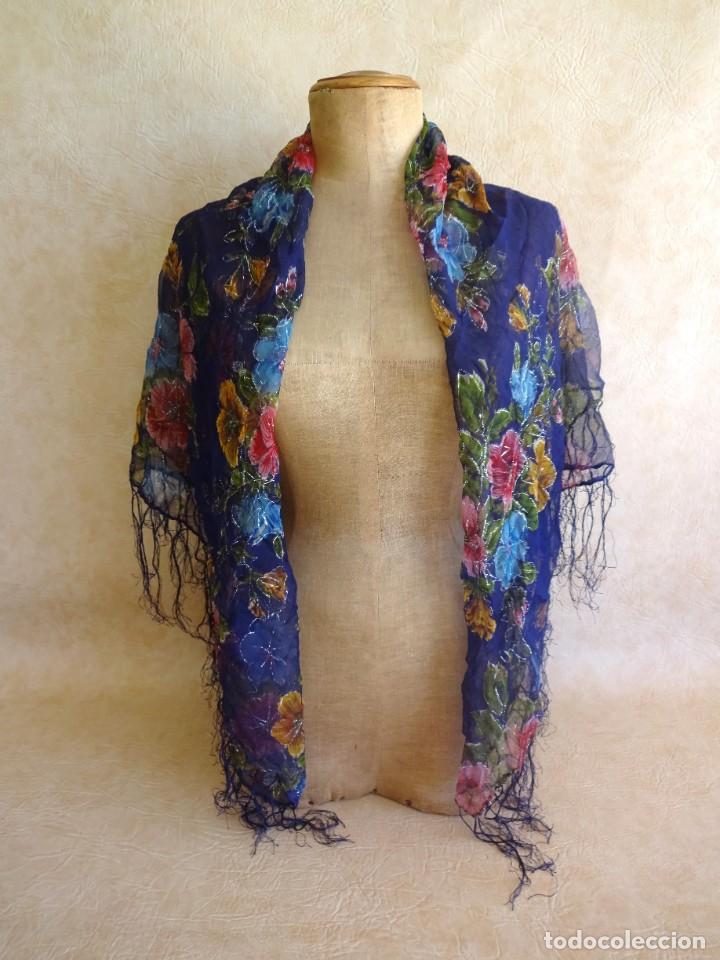 Antigüedades: antiguo manton con motivos florales - Foto 9 - 203992712