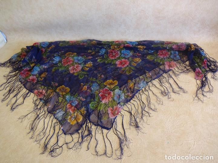 Antigüedades: antiguo manton con motivos florales - Foto 10 - 203992712