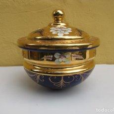 Antiquités: PONCHERA EN CRISTAL DE BOHEMIA. PINTADO A MANO EN ORO FINO. SELLADO. Lote 203996907
