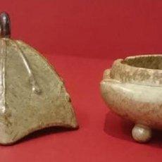 Antigüedades: CENICERO DE ALABASTRO CHINO CON CAJA. DIMENSIONES DEL CENICERO: 110 MM DE ALTURA,DIAMETRO 110 MM. Lote 204002210