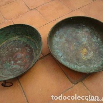 2 FUENTES O CUENCOS O CENTROS DE MESA DE COBRE (Antigüedades - Hogar y Decoración - Centros de Mesas Antiguos)