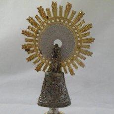 Antigüedades: IMAGEN DE LA VIRGEN DEL PILAR DE METAL Y BASE DE MÁRMOL. Lote 204153768