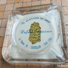 Antigüedades: CENICERO DE CRISTAL PINTADO PUBLICIDAD EL PLATANO DE ORO. RAFAEL FRANCISCO PL. TETUAN, 40 CASTELLON. Lote 204188392