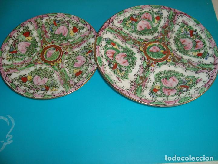 PAREJA PLATOS DE PORCELA DE MACAU FINALES SIGLO XX (Antigüedades - Porcelanas y Cerámicas - China)