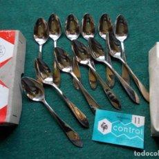 Antigüedades: LOTE 12 CUCHARILLAS DE CAFE ANTIGUOS DE ALPACA MARCA GALLO NUEVOS EN SU CAJA. Lote 204259518