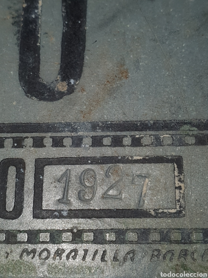 Antigüedades: Placa de cing para carruaje ayuntamiento pontons número 70 1 del 2 de 1927. - Foto 2 - 204272323