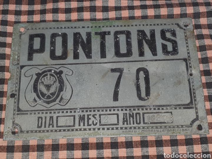 PLACA DE CING PARA CARRUAJE AYUNTAMIENTO PONTONS NÚMERO 70 1 DEL 2 DE 1927. (Antigüedades - Técnicas - Rústicas - Caballería Antigua)