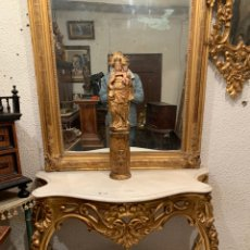 Antigüedades: MAGNIFICO CONJUNTO DE CONSOLA DORADA CON ESPEJO, SIGLO XIX.. Lote 204274651
