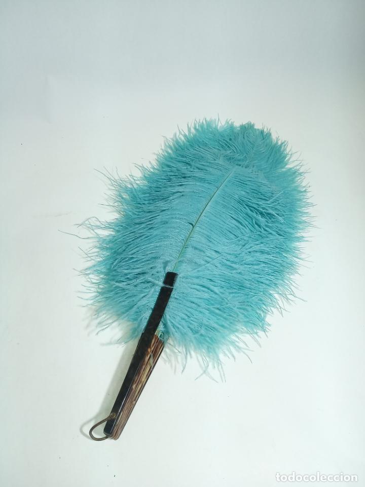 Antigüedades: Pomposo abanico de plumas azules e imitación carey. Gran tamaño. 45 cm. de largo. 60 cm. ancho. - Foto 3 - 204331768