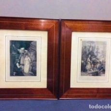 Antigüedades: PAREJA MARCOS CAOBA Y MARQUETERIA DE BOJ CON GRABADOS S. XIX.. Lote 204335995