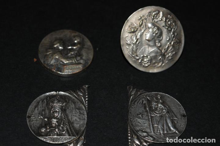 LOTE 4 MEDALLAS DE PLATA - 3 RELIGIOSAS Y UNA MODERNISTA DE 3,5CM DE DIAMETRO (Antigüedades - Religiosas - Medallas Antiguas)
