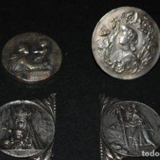 Antigüedades: LOTE 4 MEDALLAS DE PLATA - 3 RELIGIOSAS Y UNA MODERNISTA DE 3,5CM DE DIAMETRO. Lote 204346386