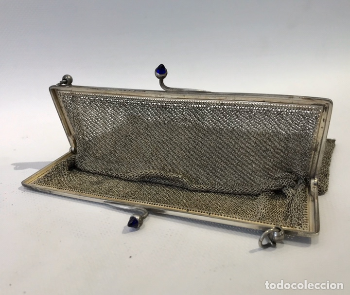 Antigüedades: Bolso de malla de plata Sterling 900, contrastada. Principios del siglo XX - Foto 8 - 204348205