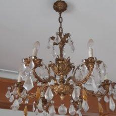 Antigüedades: LAMPARA DE TECHO 6 BRAZOS METAL DORADO. Lote 204362170