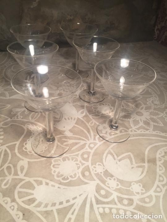 Antigüedades: Antiguas 6 copa / copas de cristal soplado a mano bonito tallado años 20-30 - Foto 3 - 204366010